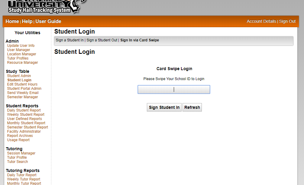 Artemis Study Hall Tracking System - Student Check In/Check